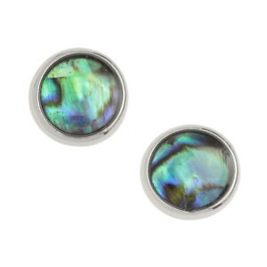 Round Stud Earrings Paua Abalone Shell  - Gift Boxed / Pouch