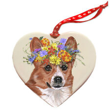 Corgi Pemboke Welsh Dog Porcelain Floral Heart Shaped Ornament Décor Pet Gift