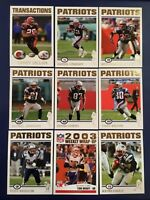 2004 Topps Collection NEW ENGLAND PATRIOTS Complete Team Set 17 BRADY ALL GOLD !
