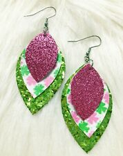 Lucky Clover Pink & Lime Glitter Faux Leather Earrings Triple Layer
