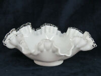 Fenton Silver Crest Style White Milk Glass Ruffled Crimped Rim Bowl 783B