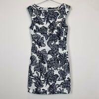 BNWT White Closet Womens White with Black Flowers Sleeveless Dress Size 8