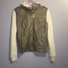 Fall Jacket Faux Leather Color Block Cotton Deb Small