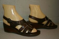 7 Nos Vtg 1970s 3-Strap Brown Woven Leather Wood Wedge Heel 60s 70s Sandal Shoe