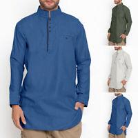 Hommes T-shirt Kurta rétro 100% coton chemise à manches longues chemisier caftan