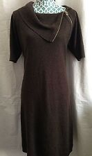 Calvin Klein Turtleneck Side Neck Zipper Shift Sweater Dress Brown Size Small