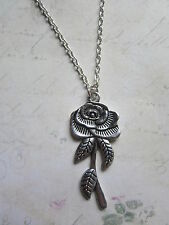 "Vintage Look Silver Rose Stem Flower 18"" Necklace New in Gift Bag Valentines"