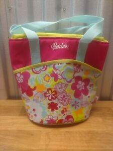 Tall Handled Thermos Barbie Insulated Zippered Pink Floral Lunch Container