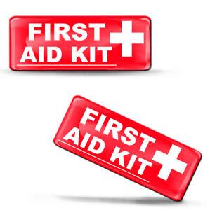 2 x 3D Silikon Aufkleber First Aid Kit Erste-Hilfe-Tasche Erste Hilfe Set Auto