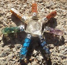 Quartz pyramid with 7 orgone chakra healing points ~ energy generator