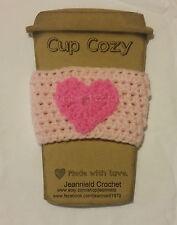 Handmade Crochet Coffee Cup Cozy/Sleeve/Holder Mason Jar Holder - Pink Heart