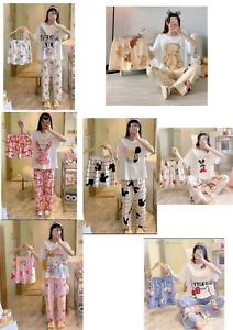 Women's  Cotton Pyjamas 3 In 1 Sleepwear  Three Piece Set Fits Size UK 8-10