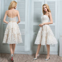 Wedding Bridesmaid Dresses A-line Lace White Embroidery Strapless Prom Dress