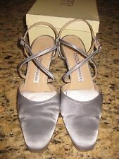 Enzo Angiolini Washed Silver Satin Strapped Pumps 6 1/2 M E-Barika Strappy Solid