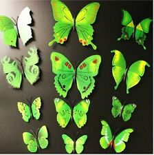 3D GREEN AND BLACK BUTTERFLY WALL ART DECAL SET OF 12 (BRAND NEW)