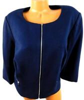Roz & ali navy blue scoop neck spandex stretch full zipper women's jacket 1X