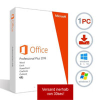 Microsoft Office 2016 Professional plus Lizenz für 1 PC MS Office 2016 pro plus