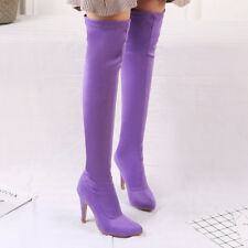 Womens High Heel Stretchy Pointed Toe Over Knee Ankle Boots Shoes UK  Size 1-12