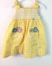 New MAYORAL Age 12 Months Yellow & White Gingham Dress With Nappy Cover Smocked