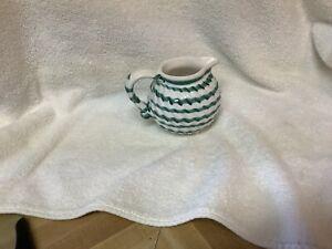 "Gmundner Keramik Austria Dizzy Green Stripe Creamer 3.5"" Tall"