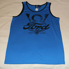 Ford V8 Logo Mens Blue Printed Sleeveless Singlet Top Size S New