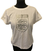 Umbro England T Shirt 3 Lions Graphic White & Silver Short Sleeve Top Size UK 16