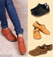 Women's Stylish Real Leather Loafers Sticky Flats And Oxfords Shoes Casual