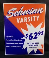 "** SCHWINN STORE DISPLAY SIGN ORIGINAL VARSITY BIKE 14"" x 10¾"" **"