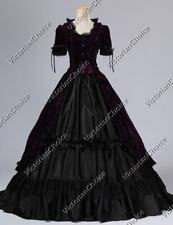 Renaissance Gothic Velvet Fairytale Steampunk Dress Witch Halloween Costume 061