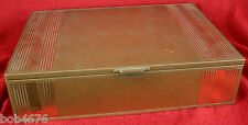 Antique Vtg 1930s Art Deco Large Brass Copper Wood Tobacco Cigar Humidor Box
