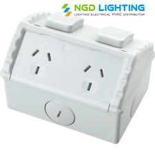 Crown Weatherproof Double Power Point Outlet Socket GPO Water Proof External
