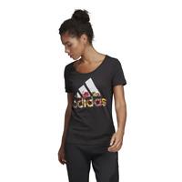 Adidas Women T-Shirt Running Tee Badge of Sport Flower Fashion Slim Fit DX2535