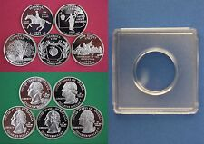 5 Silver 1999 S Proof State Quarters With 5 2x2 Snaps DCAM Flat Rate Shipping