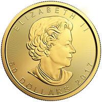 2017 1oz Gold Canadian Maple Leaf BU