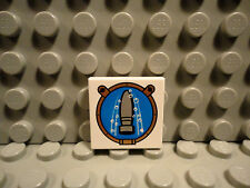 Lego 1 White 2x2 tile printed with torpedo and bubbles in port hole NEW