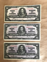 (3) 1937 CANADA $10 NOTES  (F-VF)