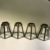 Set of 4 Clear Midcentury Leaded Beveled Glass and Brass Light Fixture Shades