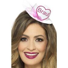 Braut Hat Ladies Hen Night Fancy Dress Accessory + Veil White & Pink