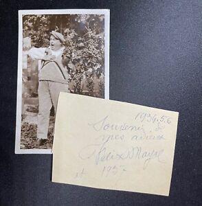 🌓 Photographie et billet autographe signé du chanteur FÉLIX MAYOL (1872-1941)