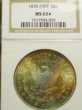 BEAUTIFUL 1878 7/8TF MS63* STAR NGC SILVER MORGAN W/ OBVERSE RAINBOW TONING