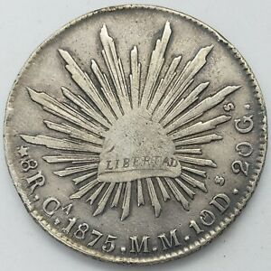 Mexico 1875 8 Reales Ca MM Chihuahua Mint Large Silver Coin