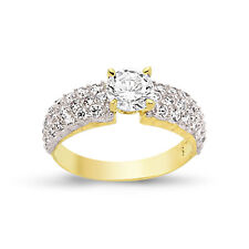 9CT GOLD LADIES CUBIC ZIRCONIA CZ BOMBAY ETERNITY BAND ENGAGEMENT WEDDING RING