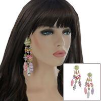 """Green Purple Pink Wood Beaded Cluster Long Dangle Statement Pierced Earrings 5"""""""