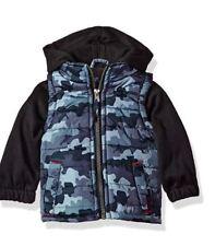 New iXtreme Baby Boys Inf Camo Print Vest W/Fleece Hood&Sleeve, Grey, 24M Coat