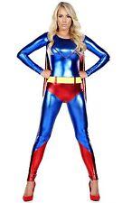 Femme Regard Humide Catsuit Super-héros Superwoman Costume Halloween Déguisement