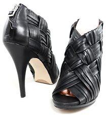 BOUTIQUE 9 ASHOE LEATHER WOVEN BOOTIE OPEN TOE PUMP Womens Shoes Heels 9.5 39.5