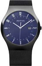 Bering Time - Solar Collection - Mens Black Mesh Watch with Blue Dial & Date