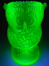 Green Vaseline glass OWL Toothpick holder Bird uranium canary yellow screech art