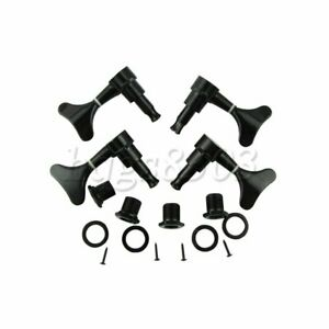 4Pcs 2L2R Bass Sealed Machine Heads Tuning Pegs for 4 Strings Bass Black