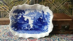 Antique Victorian Oriental Japanese Scene Serving Dish Wall Willow Pattern Plate